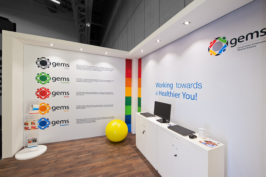 gems bhf stand corner with a computer and yellow ball